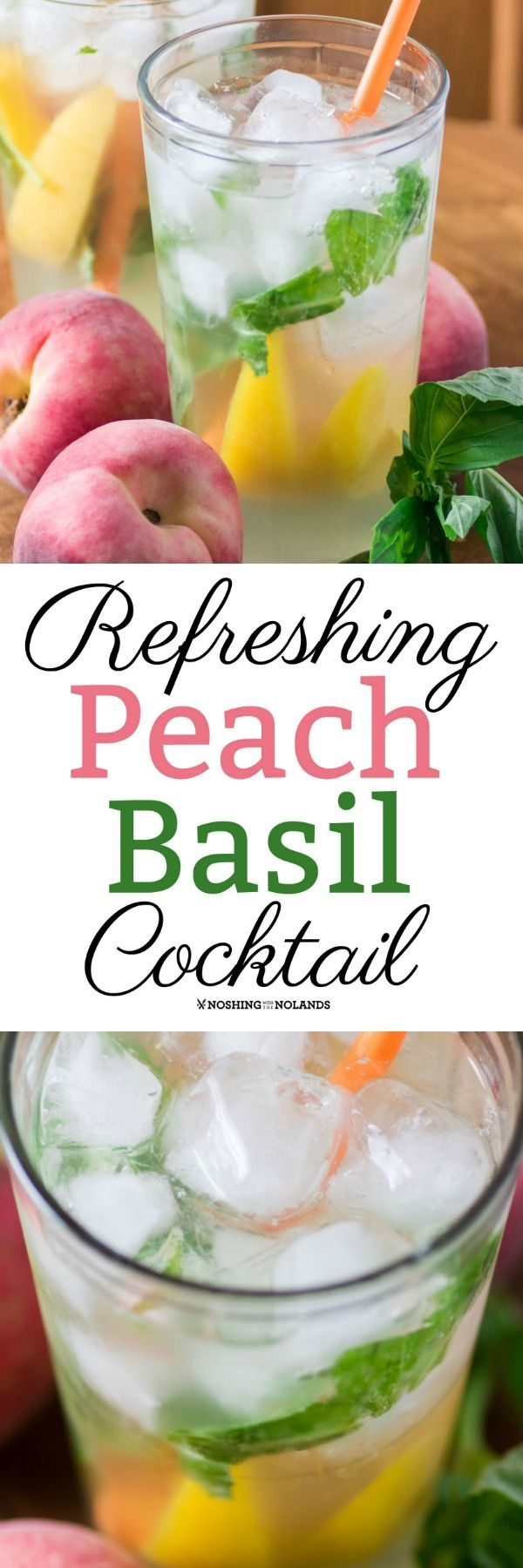 Refreshing Peach Basil Cocktail by Noshing With The Nolands is the perfect porch sipper on a hot summer day!