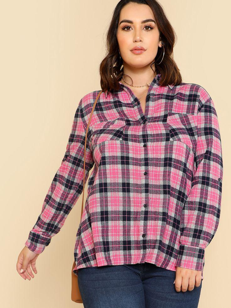 Shop Pocket Patched Tartan Shirt online. SheIn offers Pocket Patched Tartan Shirt & more to fit your fashionable needs.