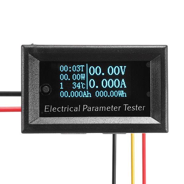 RD® 33V / 3A 7in1 Azul OLED Probador multifunción Medidor Voltaje Tiempo actual Temperatura Capacidad Medidor Voltímetro eléctrico Amperímetro