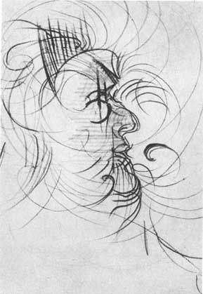 """""""5 HOURS 45 MINUTES AFTER 1ST DOSE.  Patient continues to move about the room, intersecting the space in complex variations. It's an hour and a half before he settles down to draw again - he appears over the effects of the drug.  'I can feel my knees again, I think it's starting to wear off. This is a pretty good drawing - this pencil is mighty hard to hold' - (he is holding a crayon)."""""""