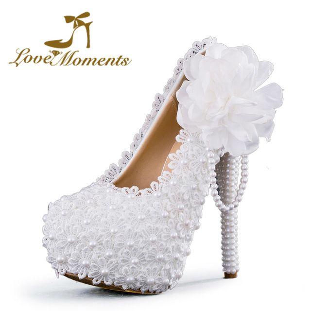 Multi Couleur En Option Femmes Blanc Fleur Dentelle Plate-Forme Haute Talons Perles Chaussures De Mariage Mariée Robe Chaussures 2cm6cm/8 cm/11 cm/14 cm