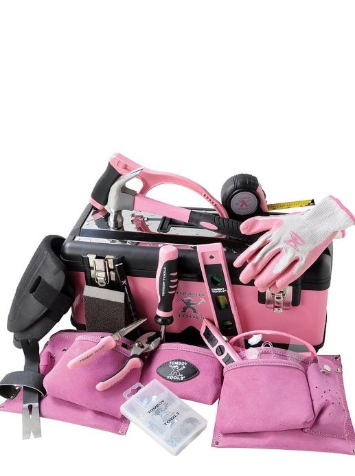 """Pink tools for my """"HGTVing"""". The pink tool belt is essential."""