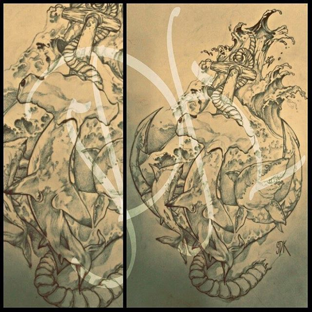 #shark #sharks #anchor #sea #köpekbalığı #çıpa #dalga #çizim #çizimlerim #draw #drawing #drawings #art #artwork #sketch #tattoodesign