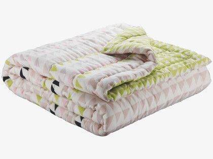 ZED MULTI-COLOURED Cotton Green and pink reversible quilted kingsize bedspread - HabitatUK