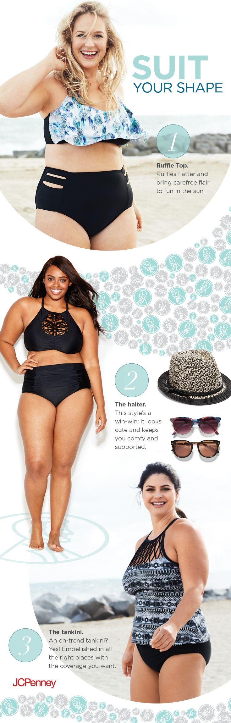 It's time to ditch the cold and bring the heat! Find the plus size swimsuit perfect for you—from a one-piece with smoothing fabric or a tankini that's flowy or fitted, check swimwear off your list and get ready for summer fun. If you're a bikini girl, stay on trend in low-or-high-waist looks that flatter, or choose an underwire top for natural lift and support. Pick the style that best suits you, grab your sunnies and recline on that poolside lounger.