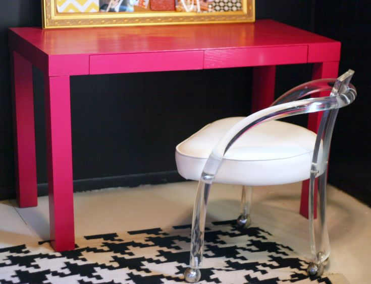 pink parsons desk lucite chair - Desk Chairs For Teens