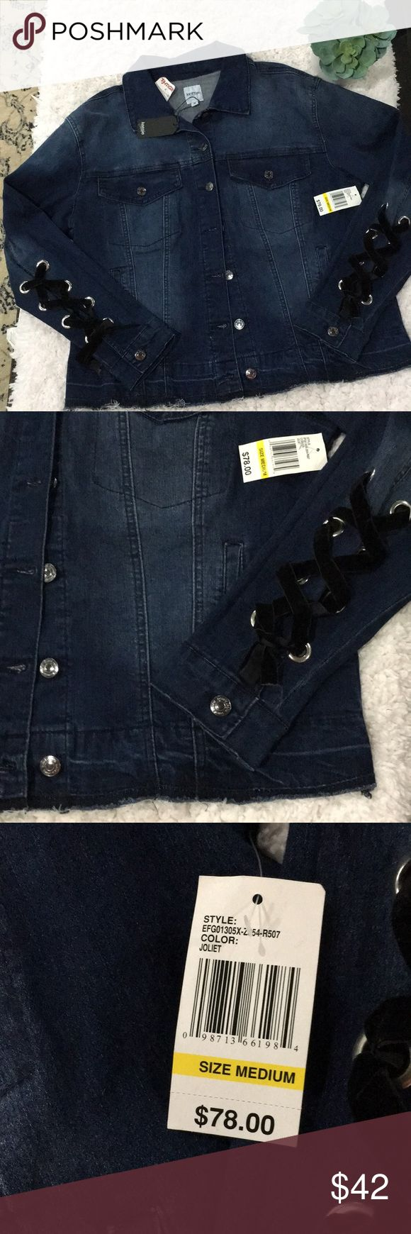 Kensie Jeans Jacket with  size M New with tags Kensie Jeans Jacket with black velvet accent ties in arms. Bottom hem is tagged unfinished. So awesome !!!  Button up front with 2 top pockets with button and 2 bottom pockets. New with tags   Color: Joliet Kensie Jackets & Coats Jean Jackets