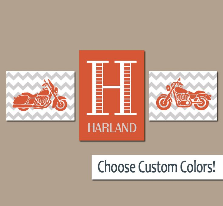 MOTORCYCLE Boy Wall Art, Canvas or Prints Orange Gray Boy Bedroom Monogram Name Initial Wall Art, Set of 3 Transportation Theme Boy Decor by TRMdesign on Etsy https://www.etsy.com/listing/231163758/motorcycle-boy-wall-art-canvas-or-prints