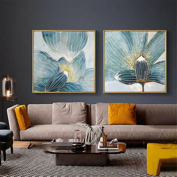2 Pieces Gold Acrylic Flower Abstract Painting Canvas Wall Art Etsy Abstract Canvas Painting Living Room Canvas Abstract Canvas Wall Art