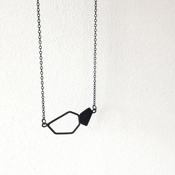 Geometric Chain Necklace, Oxidized Sterling Silver Chain Necklace, Geometric Charm Necklace, Minimalist Necklace
