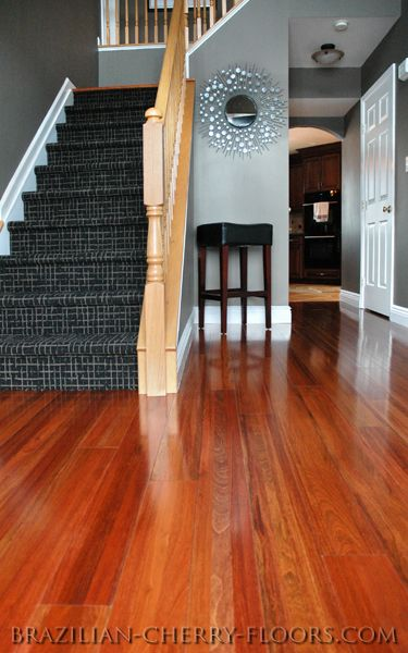 ♥Cherry Wood Floor | Brazilian. love cherry floors look so great with the gray walls**