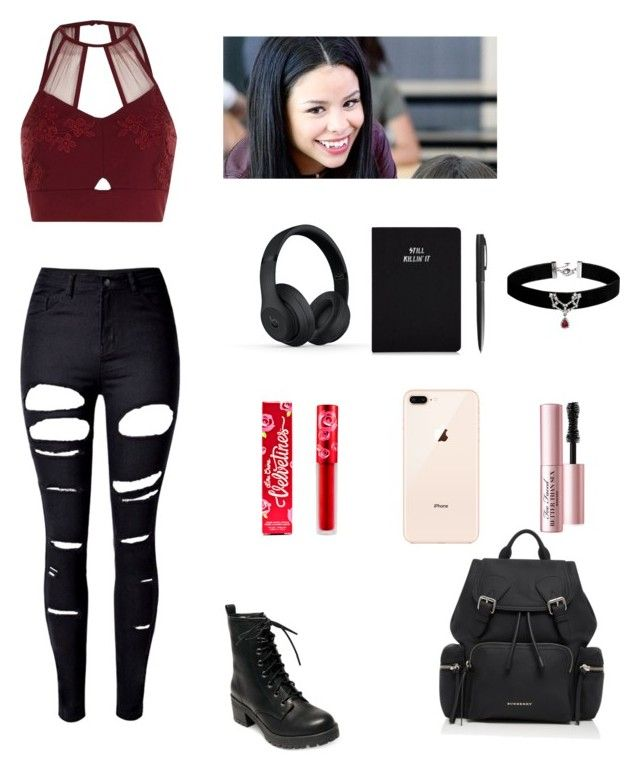 """""""Cierra Ramirez inspired"""" by isis-homer ❤ liked on Polyvore featuring River Island, WithChic, Madden Girl, Burberry, Lime Crime, Too Faced Cosmetics, Beats by Dr. Dre and Chloe + Isabel"""