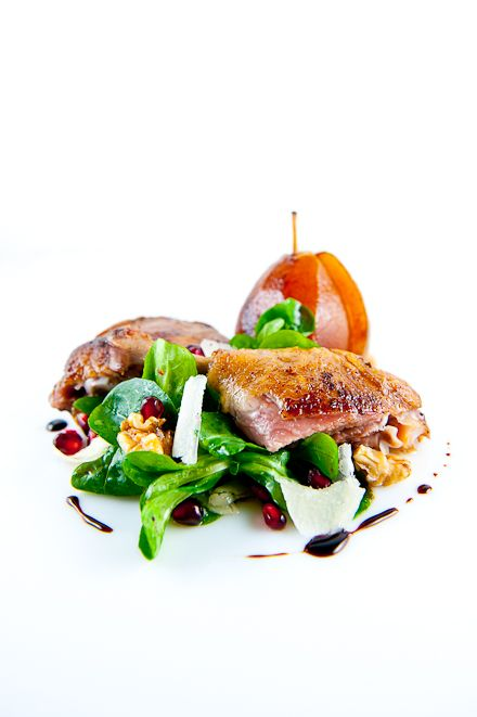 Duck Confit Sous Vide with Poached Pear and Mache Salad. Minus the cheese.. I gotta learn how to make this!