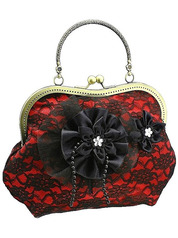 red black purse formal vintage goth purse lace by FashionForWomen
