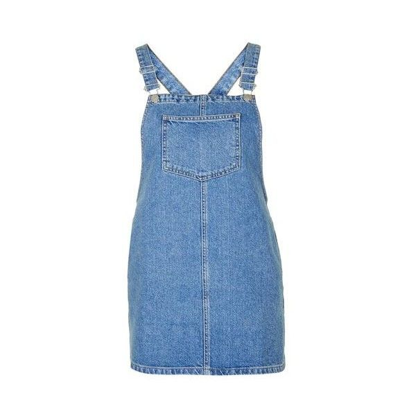 TopShop Petite Square Neck Denim Pinafore ($45) ❤ liked on Polyvore featuring dresses, mid stone, square neckline dress, square neck dress, boxy dress, blue dress and blue denim dress