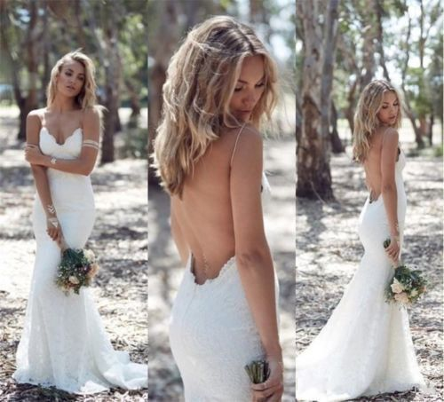BOHEMIAN MERMAID LACE WEDDING DRESS SPAGUETTI STRAPS OPEN BACK WEDDING DRESS BOHEMIAN WEDDING DRESS