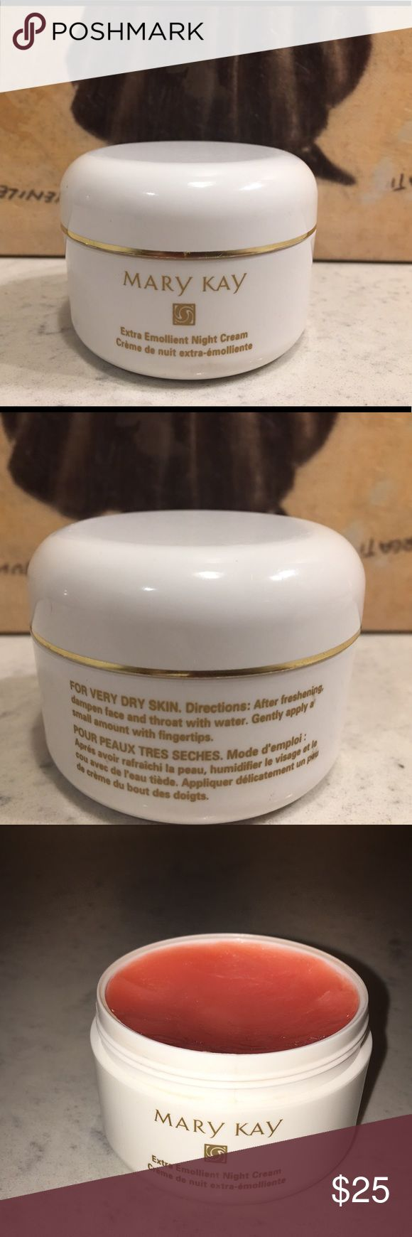 Mary Kay Extra Emollient Night Cream This Cream Works Magic! 🔮💜 Used Only a Few Times, 95% Full. If you have dry skin YOU NEED THIS! See pictures for Directions. Mary Kay Makeup