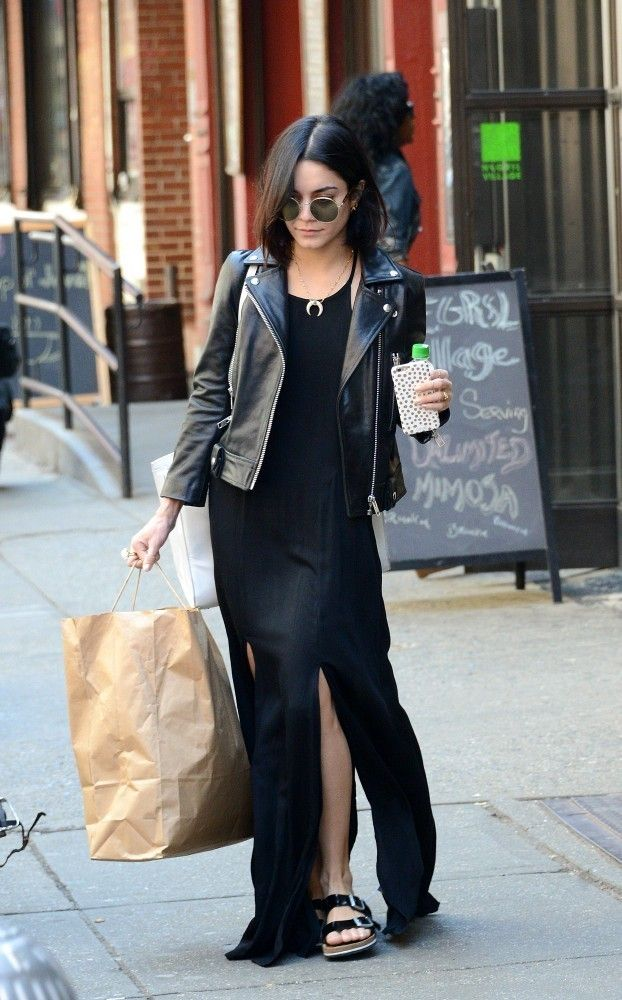 Vanessa Hudgens.. Elliott Label Motorcycle Jacket, Wildfox Dakota Sunglasses, and Betula by Birkenstock Boogie Flat Sandals..