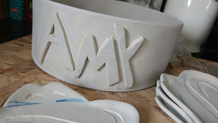 Greenware handbuilt dogbowl    SM Pottery