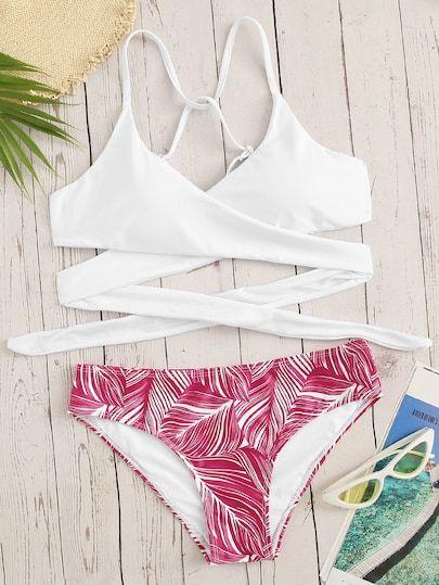 5092b6cf90 Criss Cross Wrap Top With Leaf Print Bikini Set   Buy in 2019 ...