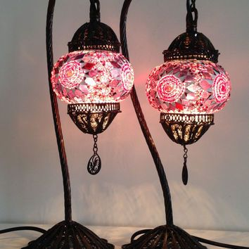 Set of Pink Stylish Boho mosaic lamp with hand crafted copper base, Unique Ethnic lamp, Night table lamps,Set of Pink Swan Neck Turkish Lamp