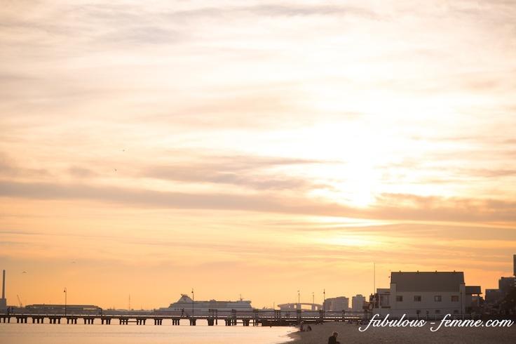 Sunset over port melbourne