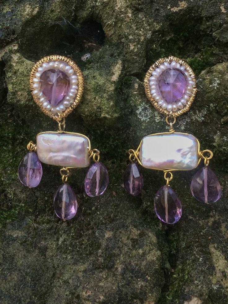 Pearl and amethyst handmade earrings