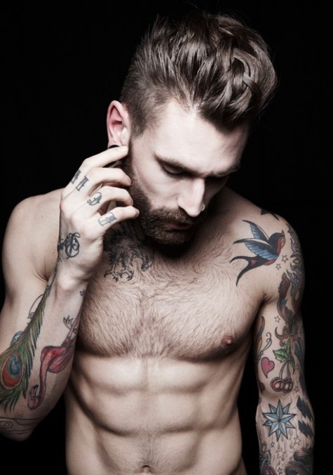 sexy man with old school sailor jerry tattoos.... yes please