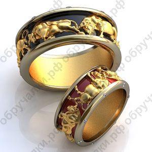 $1000 за оба 71000 руб Необычные обручальные кольца из золота на заказ с быками бриллиантами и горячей эмалью