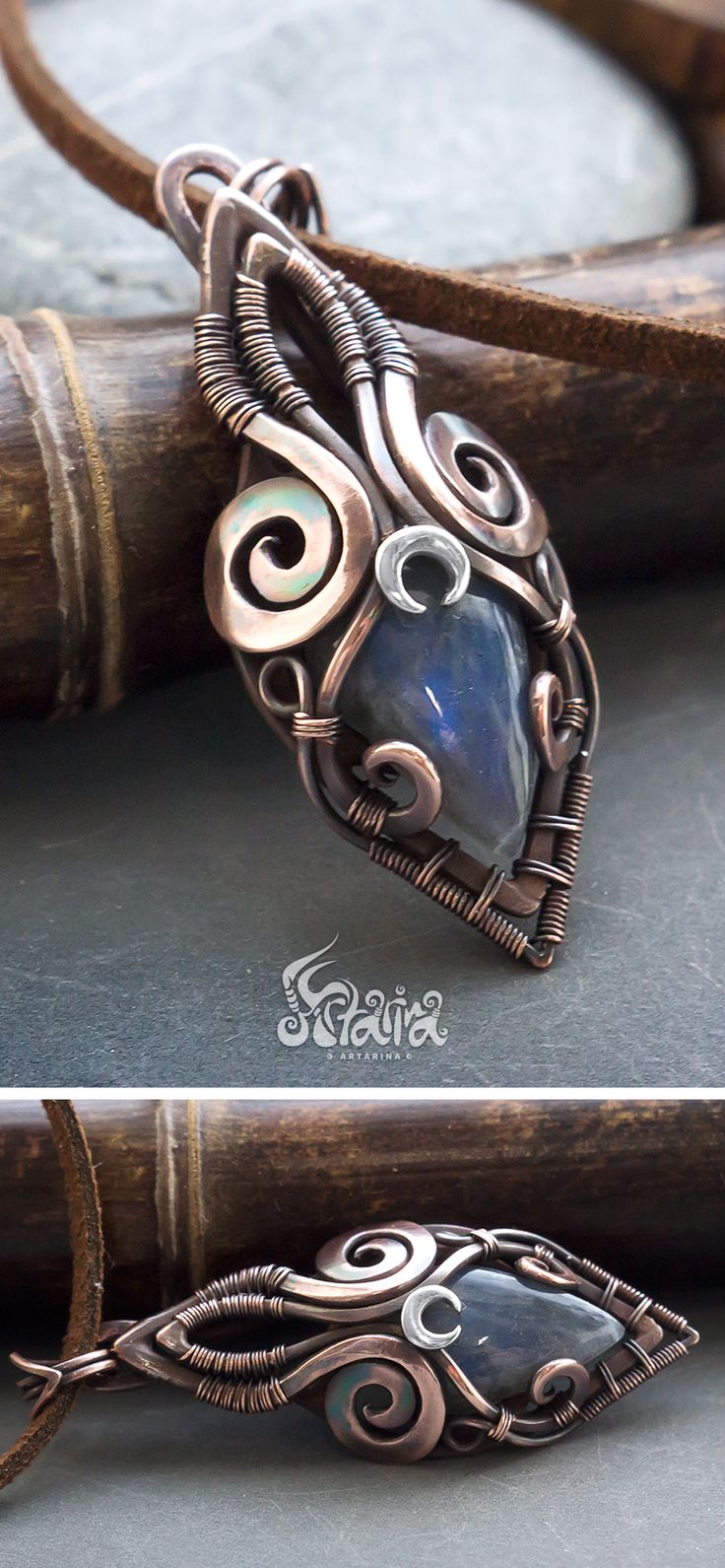 Small mixed metals pendant with blue labradorite