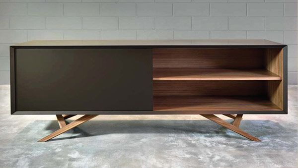 modern sideboard credenza storage usona, sideboard with angles leg detail, dynamic.