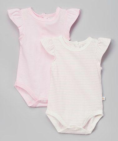 Look at this #zulilyfind! Pink Stripe Angel-Sleeve Bodysuit Set - Infant #zulilyfinds