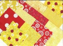 """40 pieceYellow/Red Ladybug Charm Pack 4""""x 4"""" Fabric Pre-cut Squares for quilting. Steam pressed and rotary cut charm pack. 100% Cotton quilting fabrics! VIP Cranston, Fabric Traditions, Robert Kaufman and General Fabrics.  There are more red and wh..."""