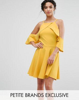 John Zack Petite Frill Cold Shoulder Mini Dress