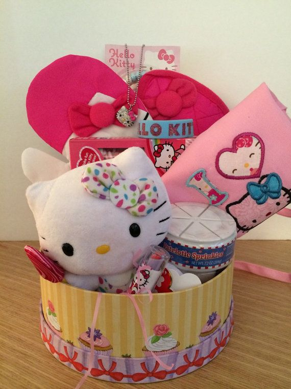 Hello Kitty Cupcake Gift Basket Valentines by CACBaskets on Etsy
