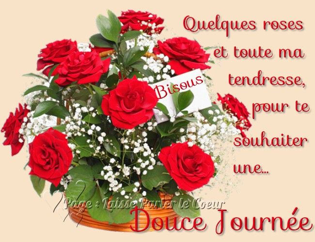 Quelques roses et toute ma tendresse, pour te souhaiter une Douce Journée