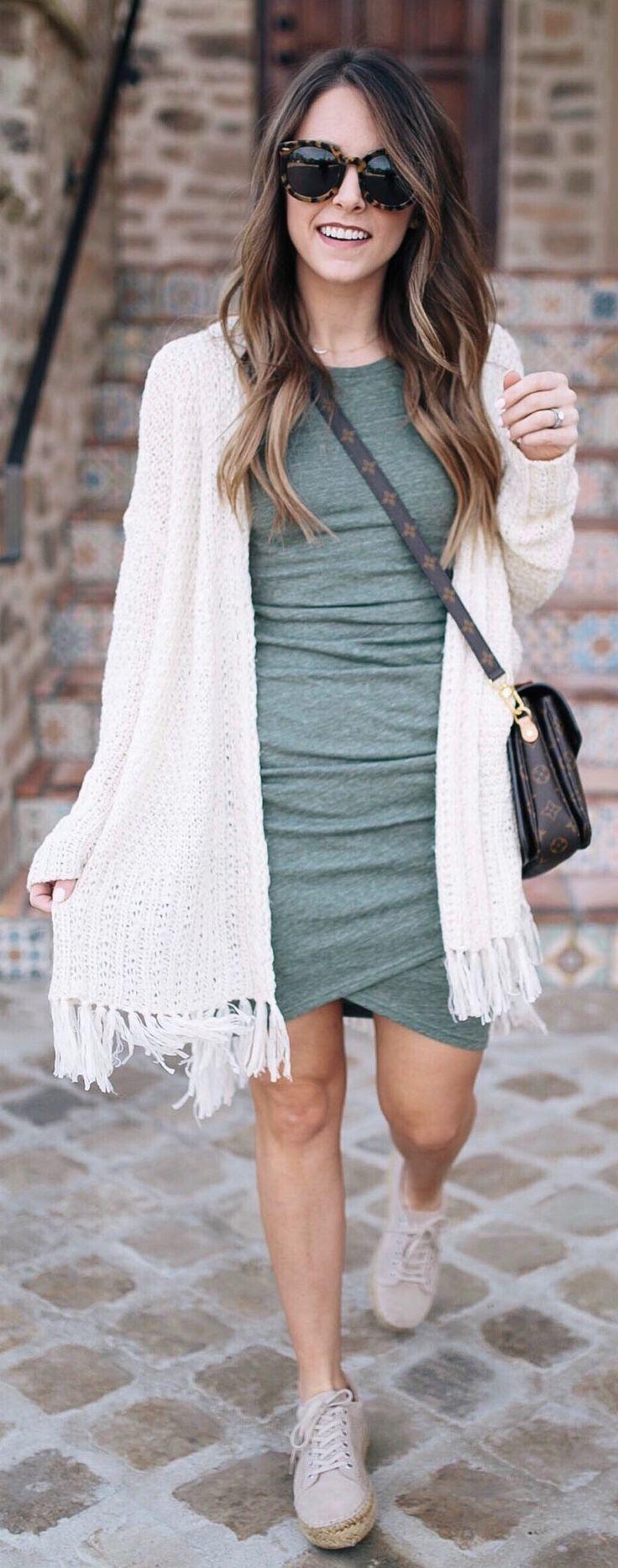 White Fringe Cardigan & Green Bandage Dress