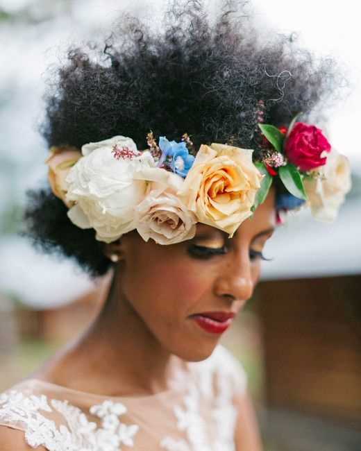 Summer Wedding Ideas You'll Want to Steal | Martha Stewart Weddings - This bohemian bride wore a lush crown filled with peonies, roses, and more, which Lalé Florals designed for her summer wedding. #flowercrowns #weddingdresses #summerwedding