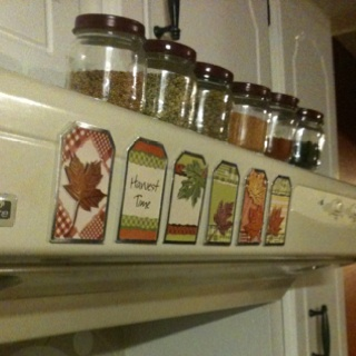 Baby food jars for spices and fall stickers :)