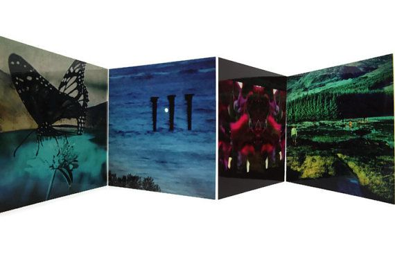 "Photo card set (4) - unique, small blank cards and envelopes. Australia, Hawaii, Iceland and Scotland. Great gift for him or for her. Featuring creative photographic images - double exposure, creative editing, abstract, etc. 5x5"" (12.7x12.7cm) fine art cards set (4) - $14.00.   If you like this set of fine art cards, I'd love you to check out other items in my shop: www.etsy.com/au/shop/MadebyGia"