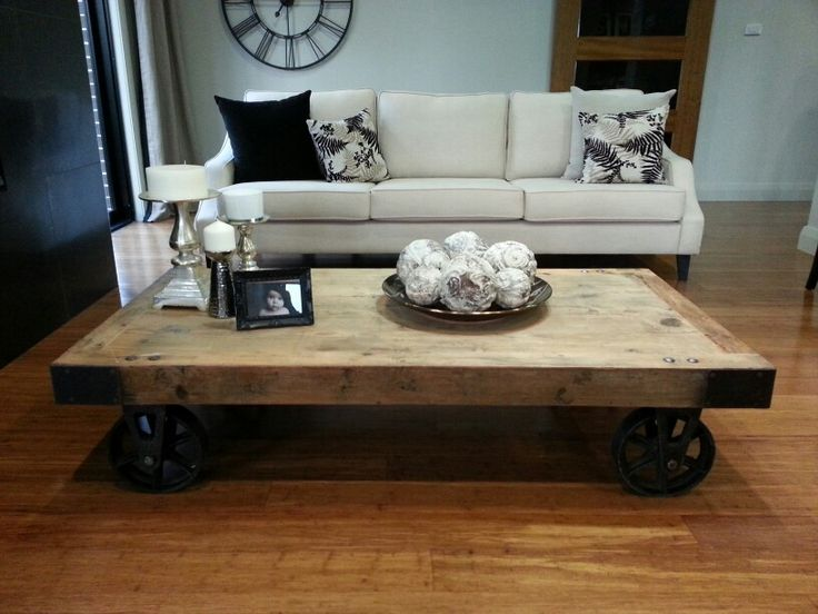 Rustic Coffee Table With Wheels Home World Display Sydney