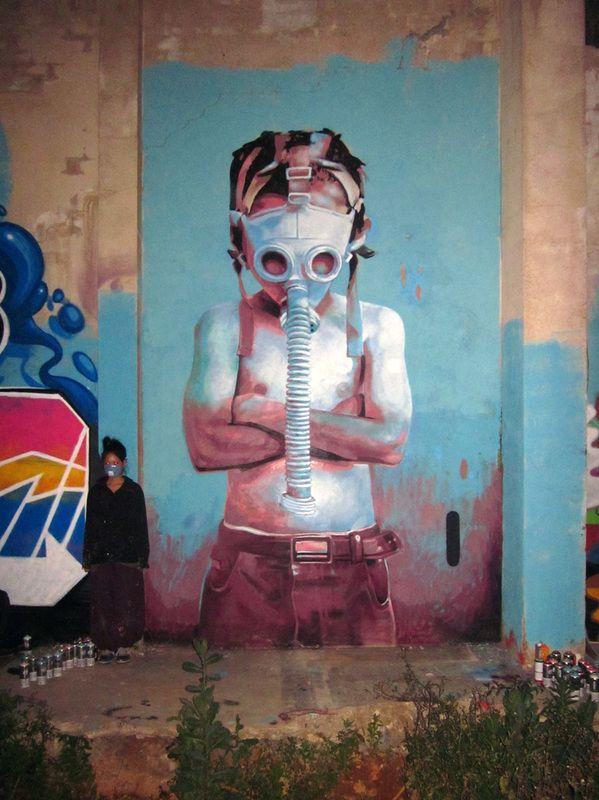 11 March (Stop Nuclear!) Mural con sprai en Artkatraz CSO Barcelona walls - cristian blanxer