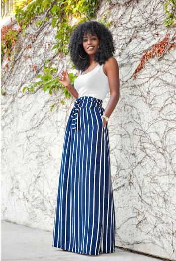 Sexy White Tank Top Blue Striped Long Skirt - Ashlays - 1