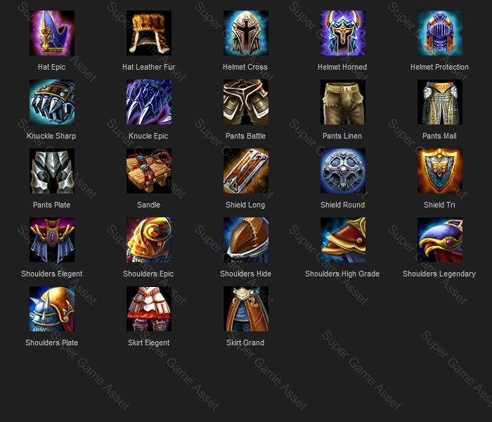 Armor  (Fantasy RPG series) Armor and equipment Icons, contain wide variety of equipments for different parts, such as head, body, hands, legs etc. each equipment also made from different material such as leather, metal, linen. each material type has different grades of armor, basic, high quality, epic etc.  can be renamed to match the armor in your game. See screen shot for each icon design and names.