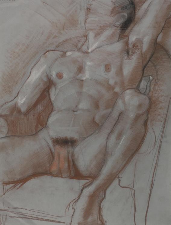 Study of le Faune - Sanguine et Crayon de Papier sur Papier - 50 x 65 cm