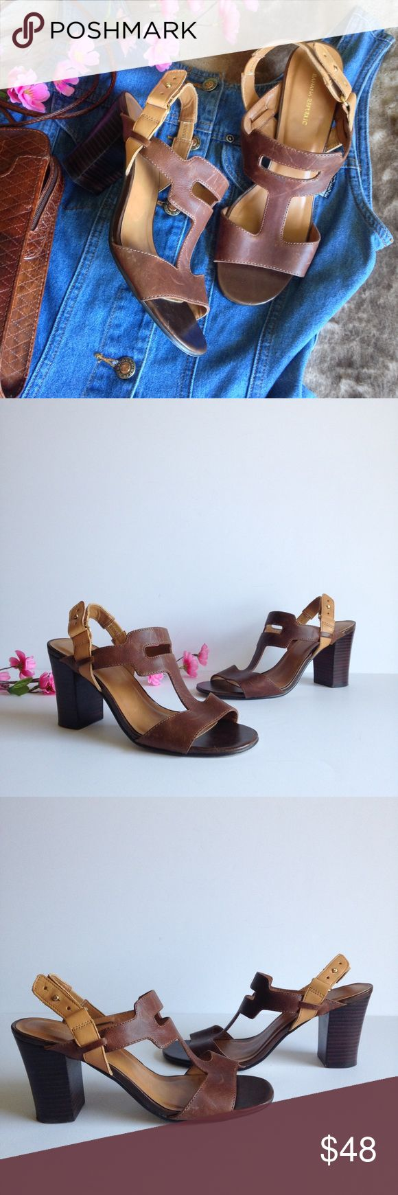 """Banana Republic Two Tone Heeled Leather Sandals Stunning two tone leather sandals from Banana Republic, in brown and tan, features adjustable t strap, fun cutout design and 3.5"""" heels. In great used condition, some wear as pictured, size 7.5. I happily entertain reasonable offers 😊🌸 Banana Republic Shoes Sandals"""
