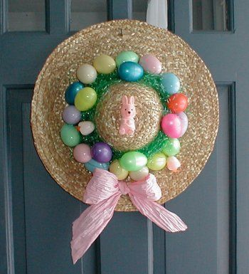 straw hat door decorating ideas | Easter Hat decoration – a Fun and Easy Craft for Kids.