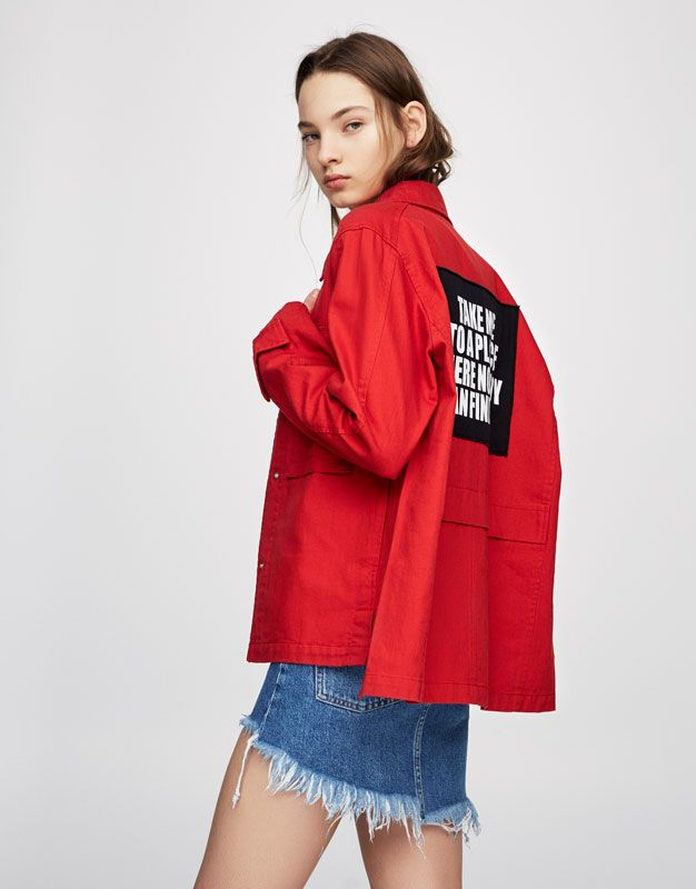 Safari jacket with back patch - Denim - Coats and jackets - Clothing - Woman - PULL&BEAR Ukraine