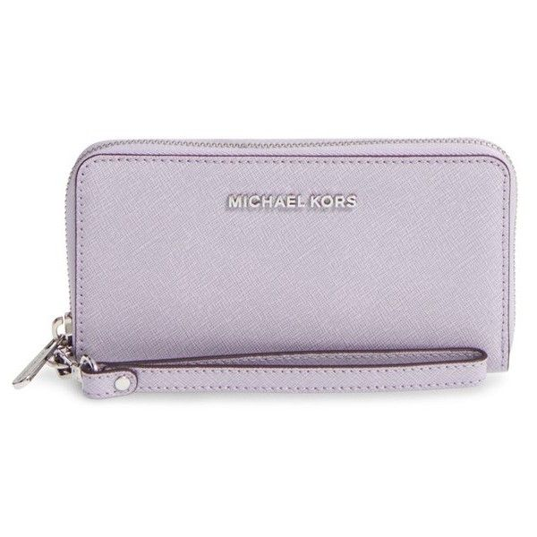 MICHAEL Michael Kors 'Jet Set' Saffiano Leather Phone Wristlet (73.450 CLP) ❤ liked on Polyvore featuring accessories, tech accessories, lilac, smart phone wristlet, michael michael kors wristlet, michael michael kors, samsung galaxy smartphone and smartphone wristlet