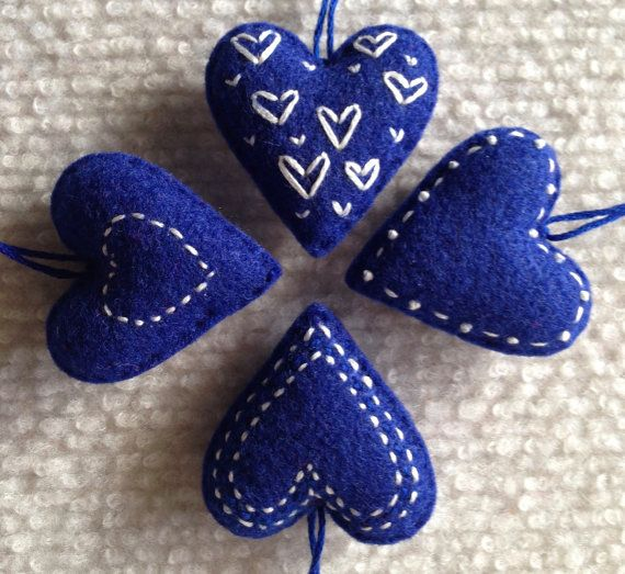 Christmas heart ornaments Blue and White felt hearts by Lucismiles